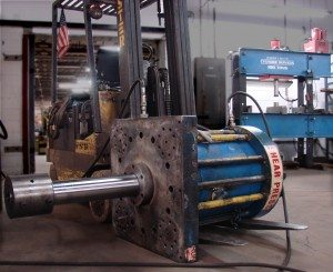 "An 18"" bore cylinder we just finished. About 380 tons push force. We made a new 5 1/2"" rod and reworked the piston."