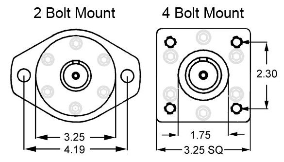 2 bolt and 4 bolt hydraulic motor mounts
